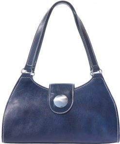 buy italian Classic bag with double handle in rigid genuine leather Argelia Colour dark blue for women