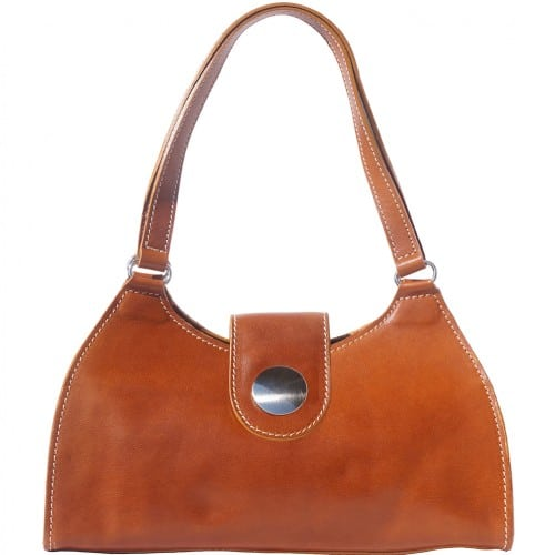 buy italian Classic bag with double handle in rigid genuine leather Argelia Colour tan for women