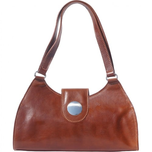 buy italian Classic bag with double handle in rigid genuine leather Argelia Colour brown for women