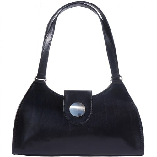 buy italian Classic bag with double handle in rigid genuine leather Argelia Colour black for women