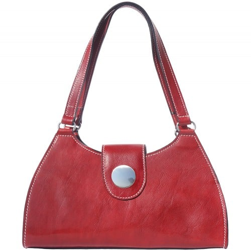 buy italian Classic bag with double handle in rigid genuine leather Argelia Colour Dark red for women