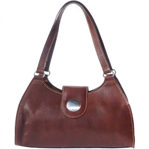 buy italian Classic bag with double handle in rigid genuine leather Argelia Colour Dark brown for women