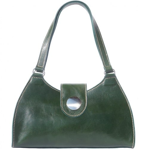 buy italian Classic bag with double handle in rigid genuine leather Argelia Colour Dark green for women
