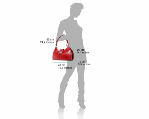 red bag in leather Elena woman