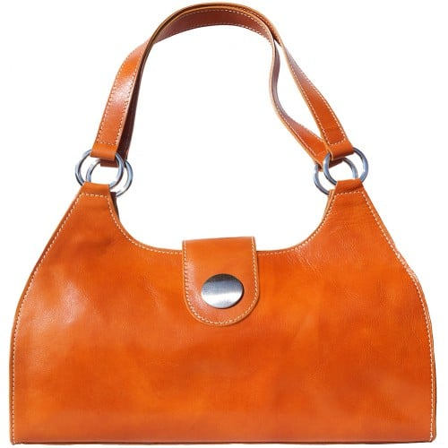Shoulder Bag Talitha in genuine leather with double handle Colour tan for women