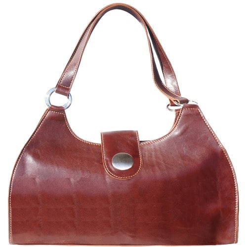 Shoulder Bag Talitha in genuine leather with double handle Colour brown for women
