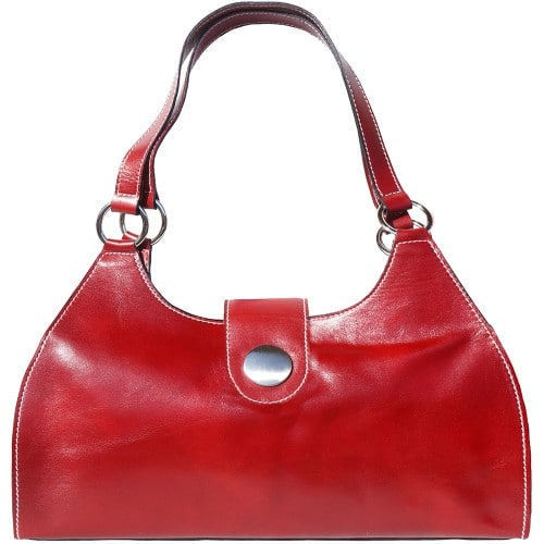 Shoulder Bag Talitha in genuine leather with double handle Colour dark red for women