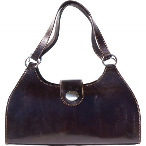 Shoulder Bag Talitha in genuine leather with double handle Colour dark brown for women
