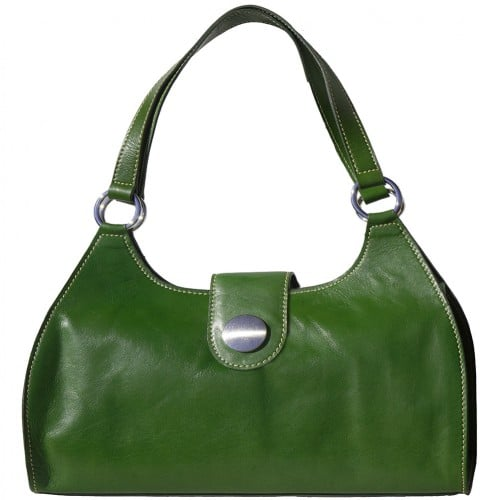 Shoulder Bag Talitha in genuine leather with double handle Colour green for women