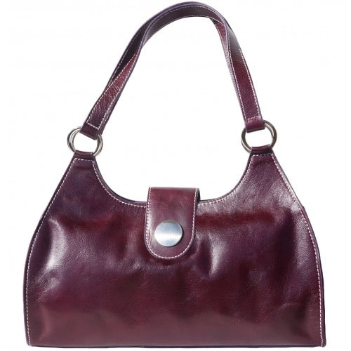 Shoulder Bag Talitha in genuine leather with double handle Colour Purple for women