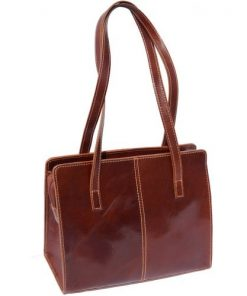 Business shoulder bag in genuine leather Olimpia Colour brown for women