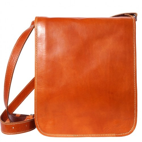messenger cross body bag Leonardo in genuine leather colour tan photo from italy for men