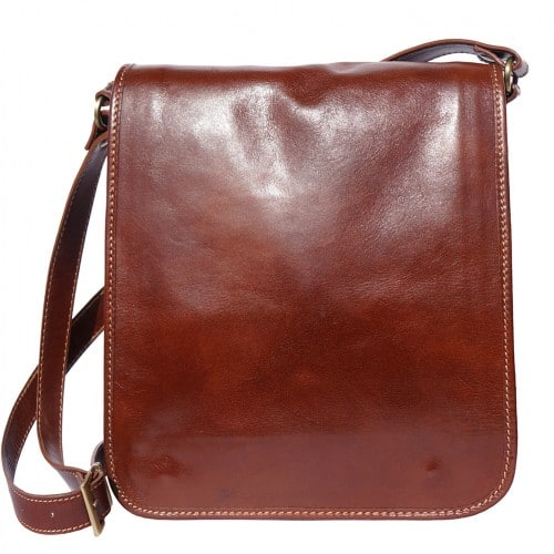 messenger cross body bag Leonardo in genuine leather colour brown photo from italy for women