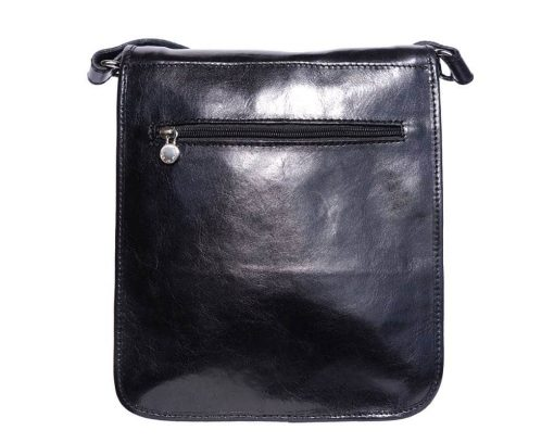 black messenger in genuine leather Augustin man