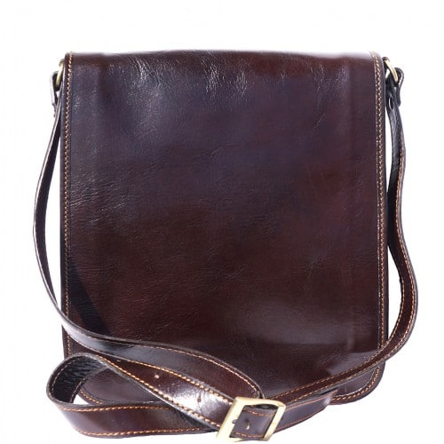 messenger cross body bag Leonardo in genuine leather colour dark brown photo for men