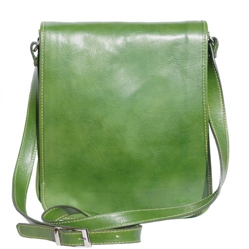 messenger cross body bag Leonardo in genuine leather colour dark green for men