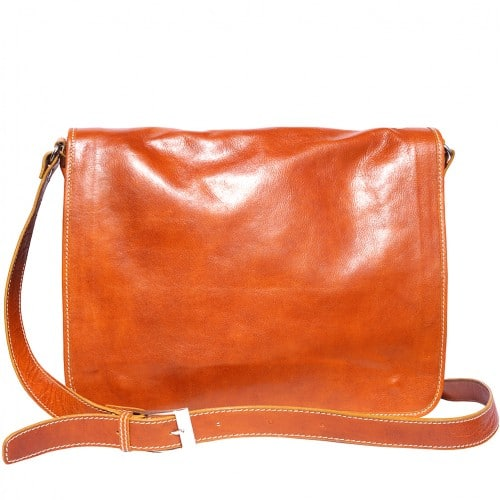 Briefcase in genuine leather with shoulder strap Lino Colour tan for women