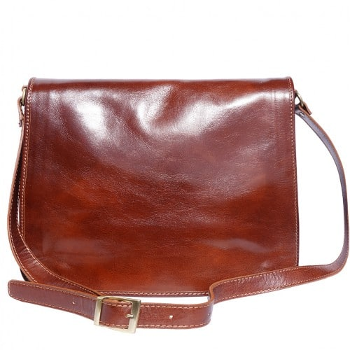 Briefcase in genuine leather with shoulder strap Lino Colour brown for men