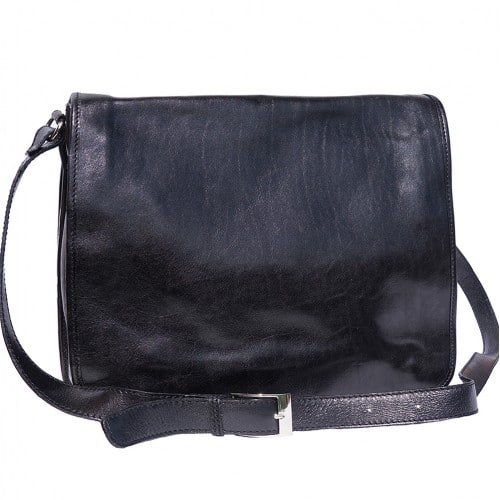 Briefcase in genuine leather with shoulder strap Lino Colour Black for men