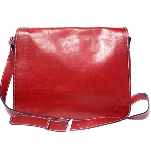 Briefcase in genuine leather with shoulder strap Lino Colour light red for women