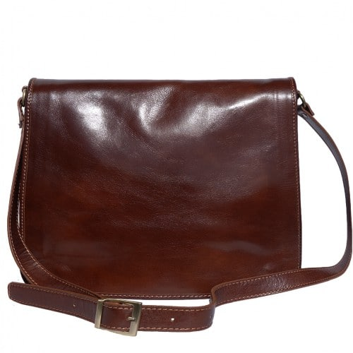 Briefcase in genuine leather with shoulder strap Lino Colour dark brown for men