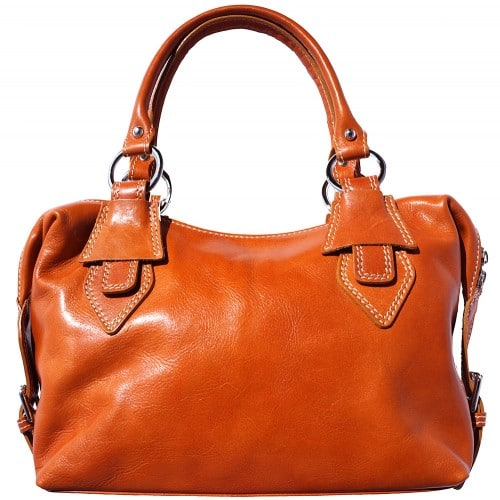 Handbag Gerda in genuine leather with double handle Colour tan for women