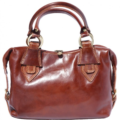 Handbag Gerda in genuine leather with double handle Colour Brown for women