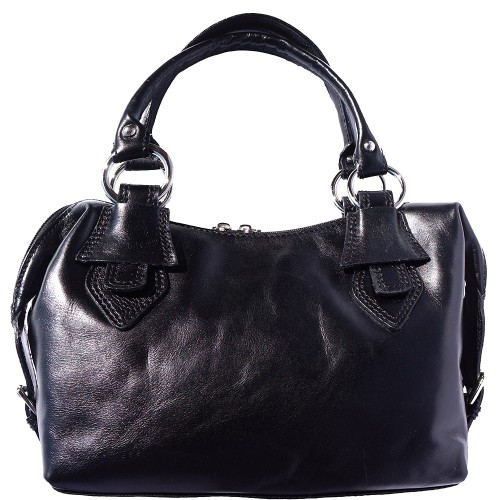 Handbag Gerda in genuine leather with double handle Colour Black for women