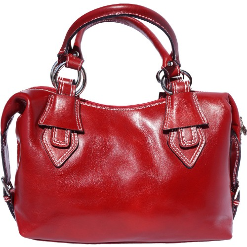 Handbag Gerda in genuine leather with double handle Colour light red for women