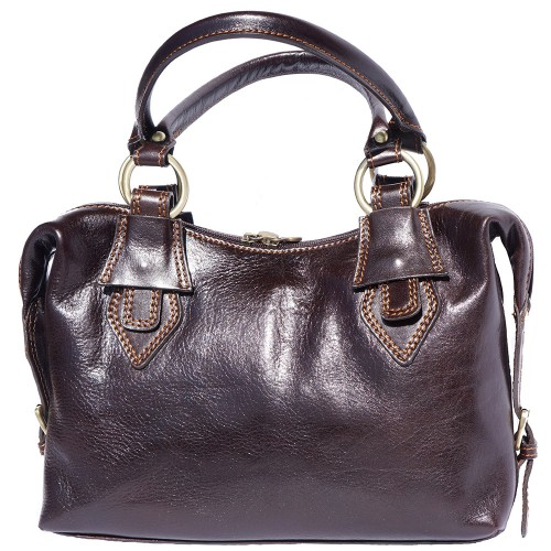 Handbag Gerda in genuine leather with double handle Colour dark brown for women