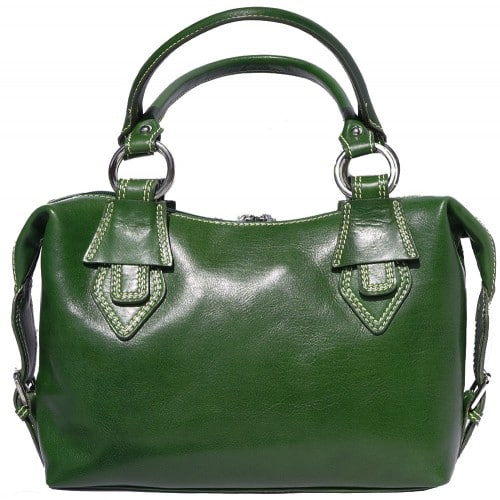 Handbag Gerda in genuine leather with double handle Colour dark green for women
