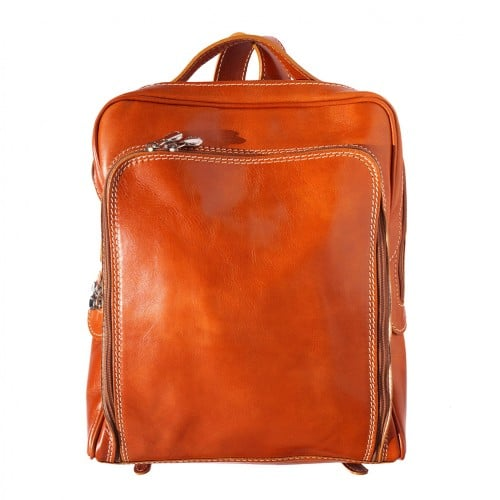 Backpack with handle from genuine leather Alessandro Colour tan for women