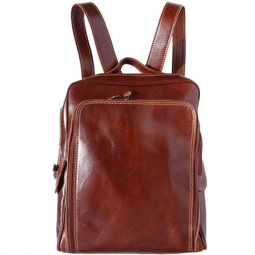 Backpack with handle from genuine leather Alessandro Colour brown for women