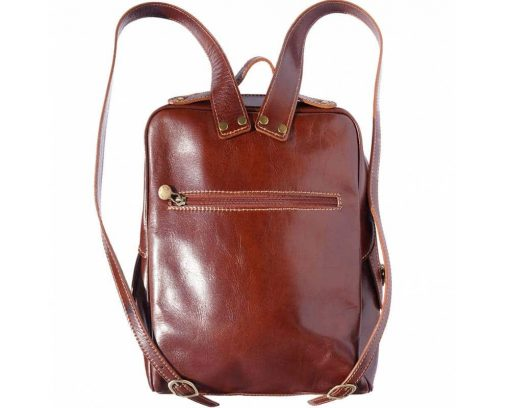 dark brown backpack with genuine leather lining from leather Naama woman