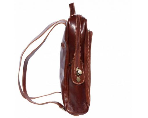 dark brown backpack with genuine leather lining Naama women