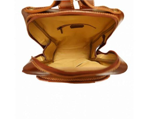 brown backpack with genuine leather lining Naama woman