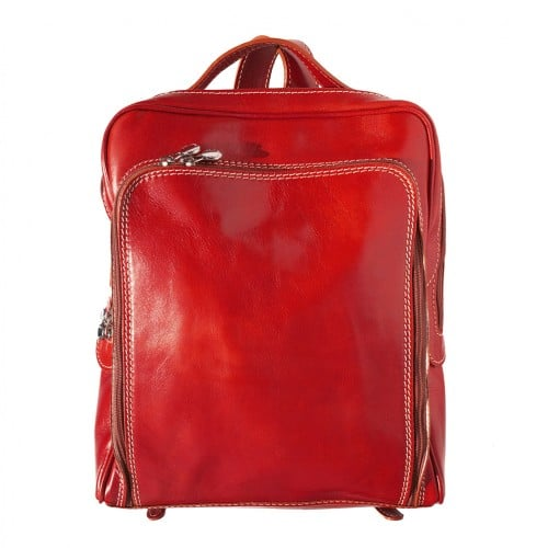 Backpack with handle from genuine leather Alessandro Colour light red for women