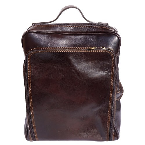 Backpack with handle from genuine leather Alessandro Colour Dark brown for men