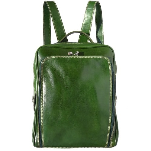 Backpack with handle from genuine leather Alessandro Colour Dark green for women