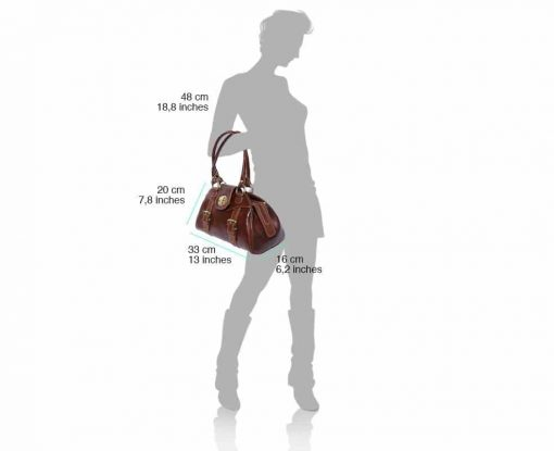 brown handbag Beatrice with genuine leather lining in real leather woman