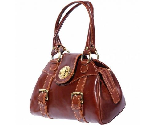 brown handbag Beatrice with genuine leather lining in genuine leather woman