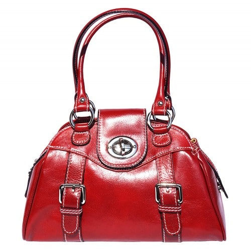 Genuine Leather bag Dolcina with double handle Colour light red for women