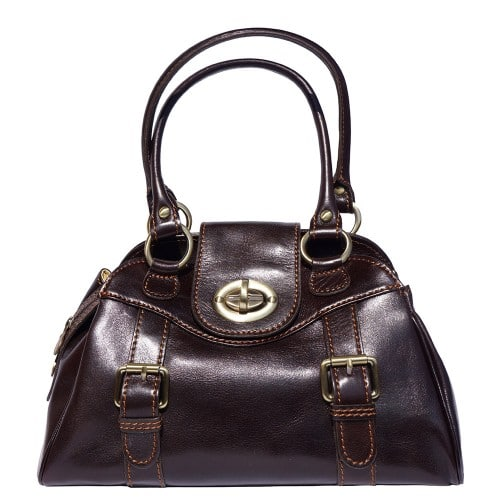 Genuine Leather bag Dolcina with double handle Colour Dark brown for women