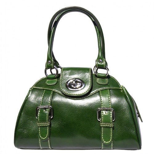 Genuine Leather bag Dolcina with double handle Colour Dark green for women