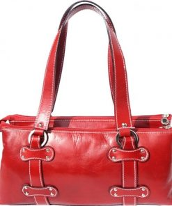 Genuine calf leather handbag Dalila Colour red for women