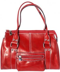 Genuine leather handbag, front pocket Clorinda Colour Light red for women