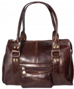 Genuine leather handbag, front pocket Clorinda Colour brown for women