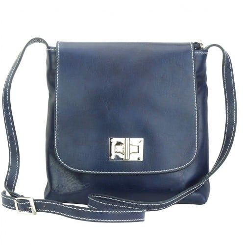 Shoulder bag in genuine cow leather Isabella Colour Dark blue for women