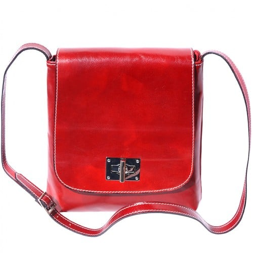 Shoulder bag in genuine cow leather Isabella Colour light red for women