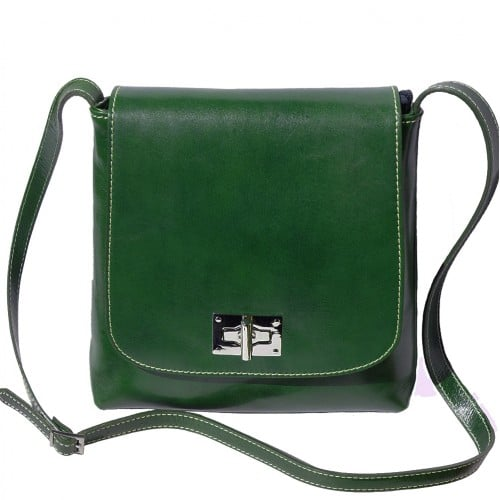 Shoulder bag in genuine cow leather Isabella Colour Dark green
